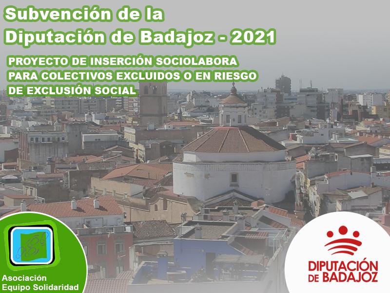 Subvención recibida de la diputación de Badajoz – 2021